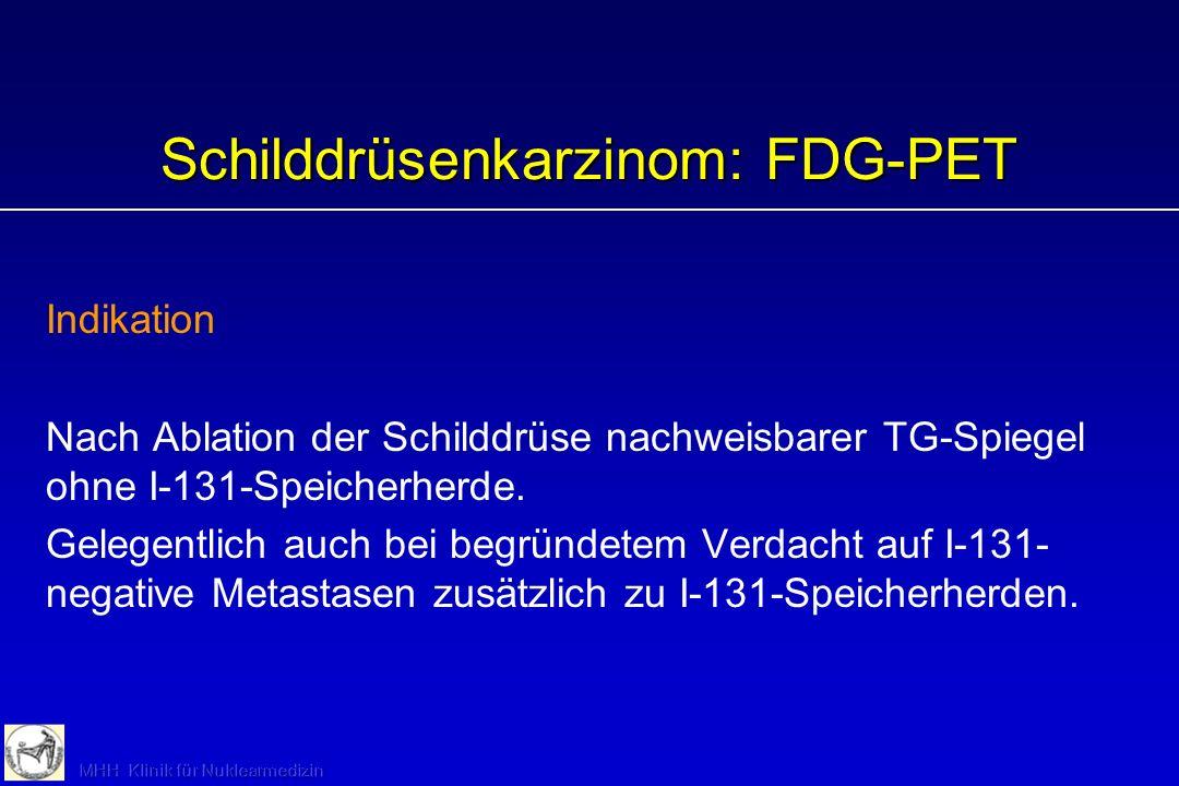 Nuklearmedizinische Diagnostik: Strahlenexposition Effektive Dosis (cSv = rem) 99m Tc 123 I 131 I Schilddrüsenszintigraphie 50 MBq: 0,075 MBq: 0,12 MB