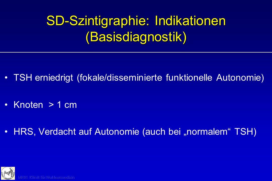 Basisdiagnostik Schilddrüse Labor:TSH(Ausschluß/Nachweis Funktionsstörung) Sonographie:Ausschluß/Nachweis von Struma/Knoten (ca 30% der erwachsenen Be