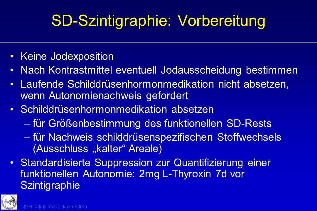 SD-Szintigraphie: Indikationen (Basisdiagnostik) TSH erniedrigt (fokale/disseminierte funktionelle Autonomie) Knoten > 1 cm HRS, Verdacht auf Autonomi