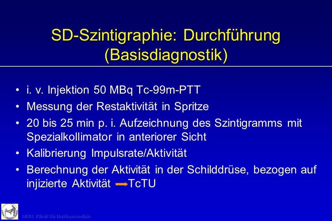 SD-Szintigraphie: Vorbereitung Keine Jodexposition Nach Kontrastmittel eventuell Jodausscheidung bestimmen Laufende Schilddrüsenhormonmedikation nicht