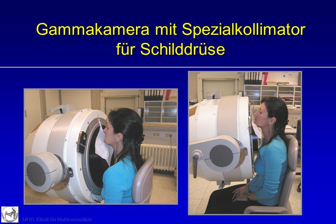 SD-Szintigraphie: Durchführung (Basisdiagnostik) i. v. Injektion 50 MBq Tc-99m-PTT Messung der Restaktivität in Spritze 20 bis 25 min p. i. Aufzeichnu