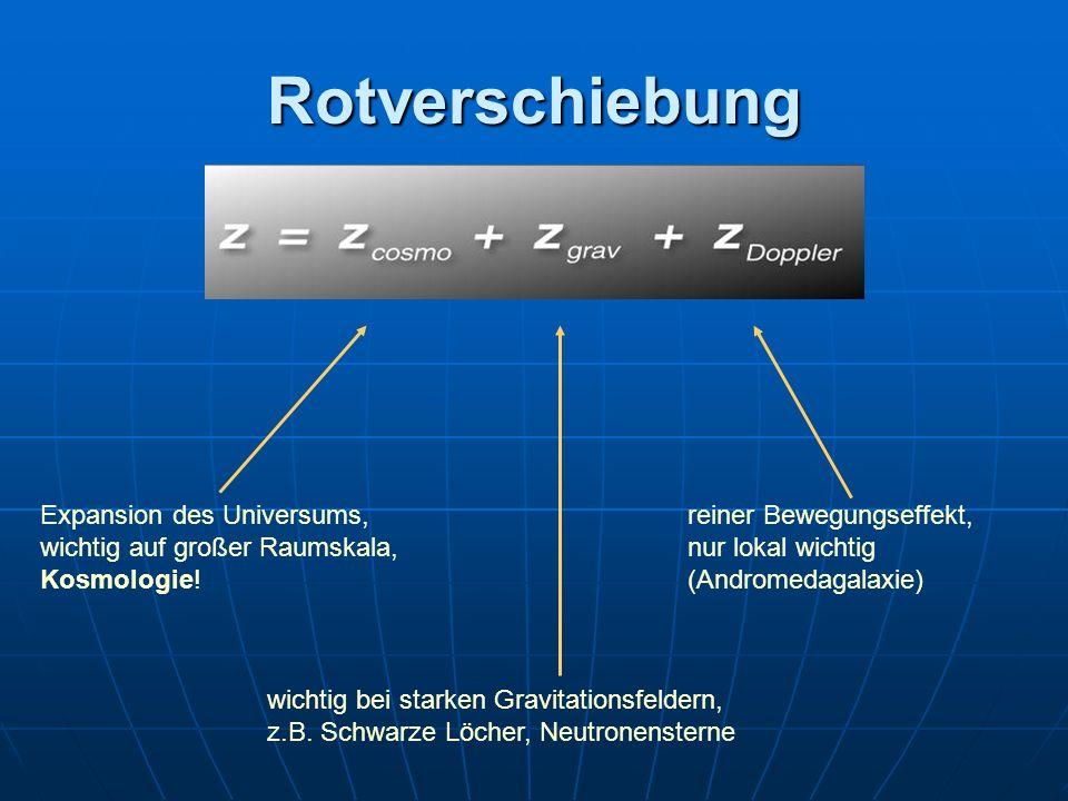 Rotverschiebung Expansion des Universums, wichtig auf großer Raumskala, Kosmologie! wichtig bei starken Gravitationsfeldern, z.B. Schwarze Löcher, Neu