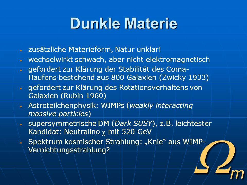 m Dunkle Materie zusätzliche Materieform, Natur unklar! wechselwirkt schwach, aber nicht elektromagnetisch gefordert zur Klärung der Stabilität des Co