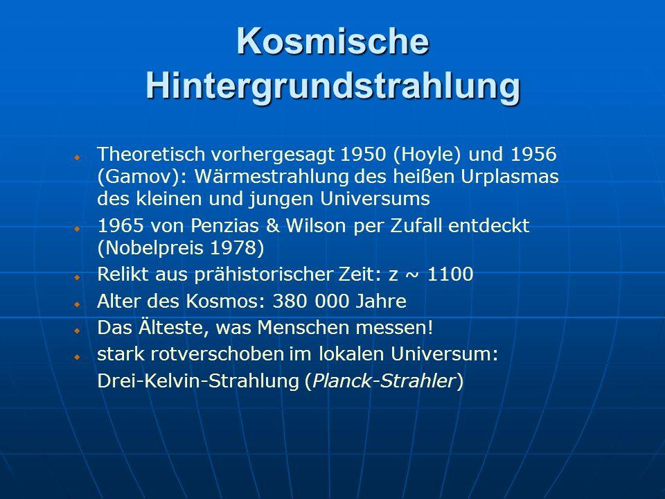 Kosmische Hintergrundstrahlung Theoretisch vorhergesagt 1950 (Hoyle) und 1956 (Gamov): Wärmestrahlung des heißen Urplasmas des kleinen und jungen Univ