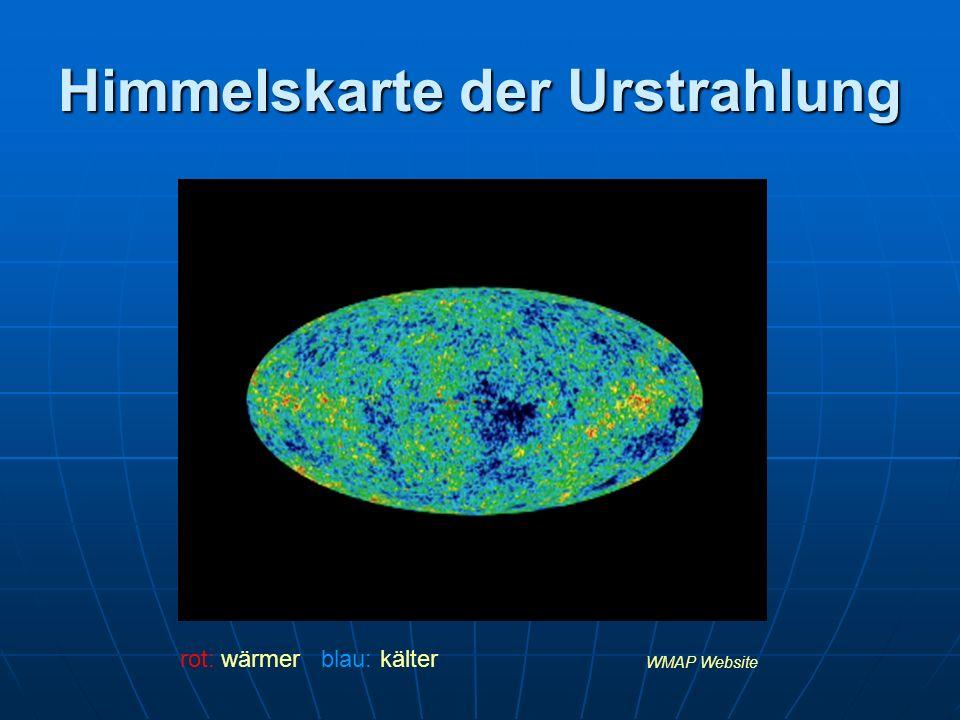 Himmelskarte der Urstrahlung WMAP Website rot: wärmer blau: kälter
