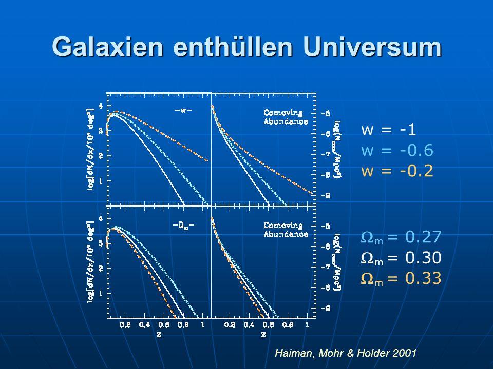 Galaxien enthüllen Universum w = -1 w = -0.6 w = -0.2 m = 0.27 m = 0.30 m = 0.33 Haiman, Mohr & Holder 2001