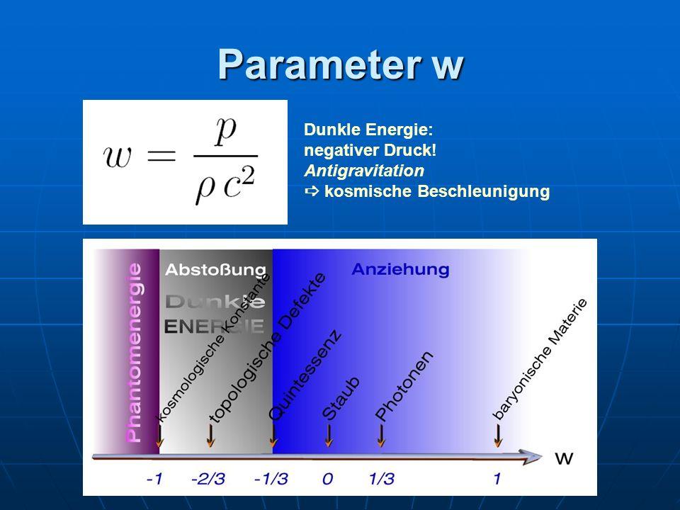 Parameter w Dunkle Energie: negativer Druck! Antigravitation kosmische Beschleunigung