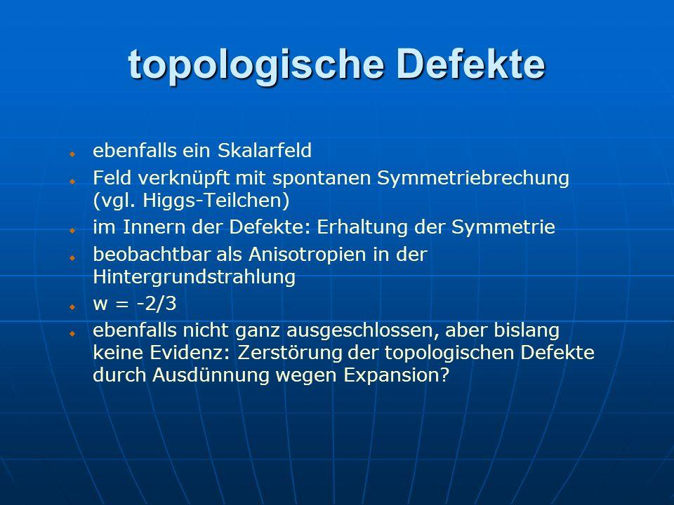 topologische Defekte ebenfalls ein Skalarfeld Feld verknüpft mit spontanen Symmetriebrechung (vgl. Higgs-Teilchen) im Innern der Defekte: Erhaltung de