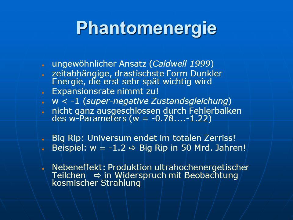 Phantomenergie ungewöhnlicher Ansatz (Caldwell 1999) zeitabhängige, drastischste Form Dunkler Energie, die erst sehr spät wichtig wird Expansionsrate