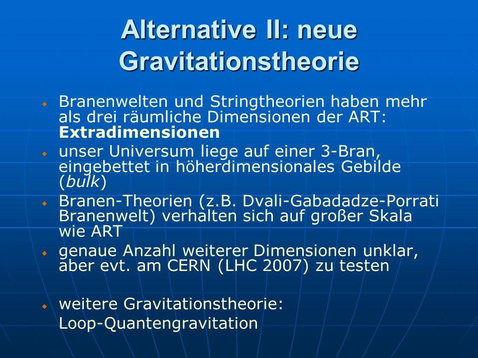 Alternative II: neue Gravitationstheorie Branenwelten und Stringtheorien haben mehr als drei räumliche Dimensionen der ART: Extradimensionen unser Uni