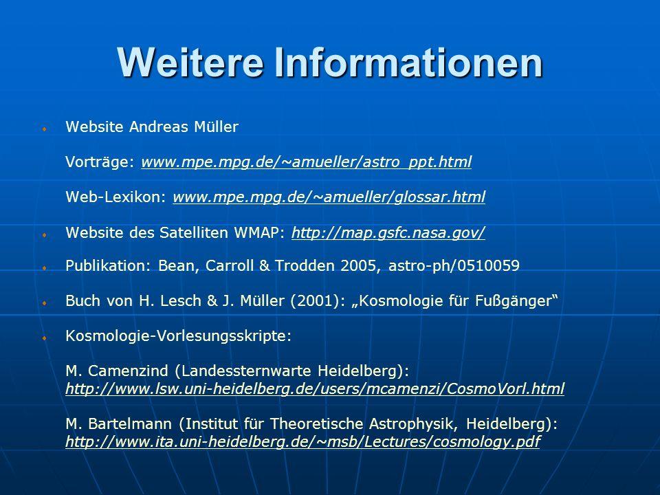 Weitere Informationen Website Andreas Müller Vorträge: www.mpe.mpg.de/~amueller/astro_ppt.htmlwww.mpe.mpg.de/~amueller/astro_ppt.html Web-Lexikon: www