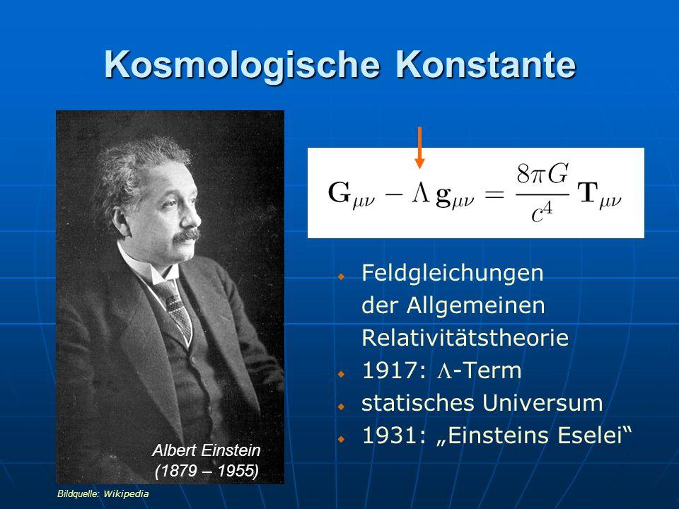 Kosmologische Konstante Feldgleichungen der Allgemeinen Relativitätstheorie 1917: -Term statisches Universum 1931: Einsteins Eselei Albert Einstein (1