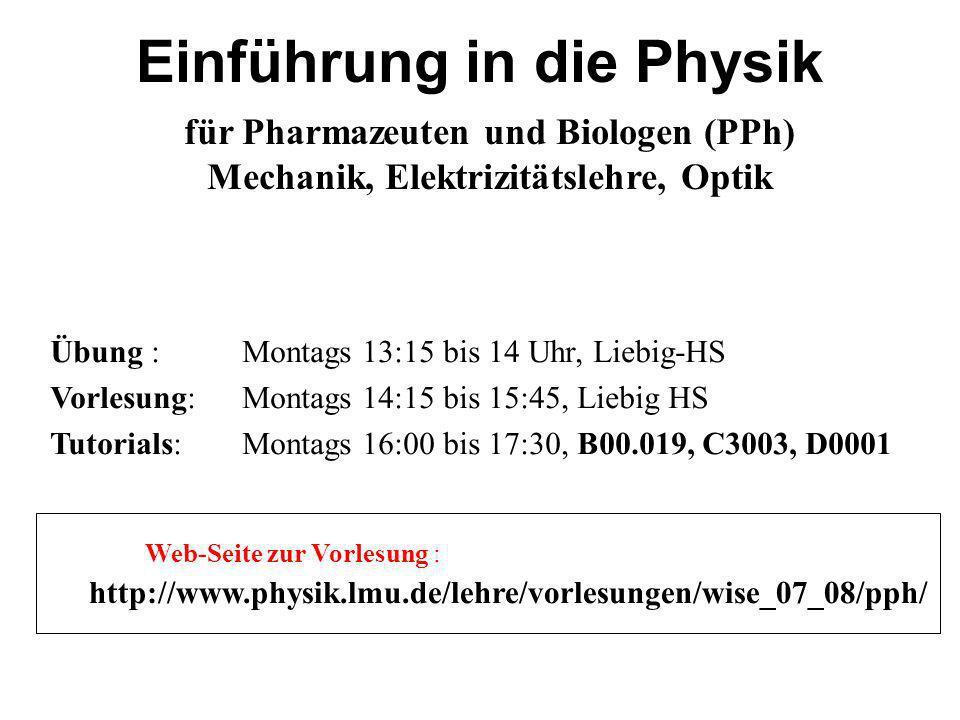 Übung : Montags 13:15 bis 14 Uhr, Liebig-HS Vorlesung: Montags 14:15 bis 15:45, Liebig HS Tutorials:Montags 16:00 bis 17:30, B00.019, C3003, D0001 htt