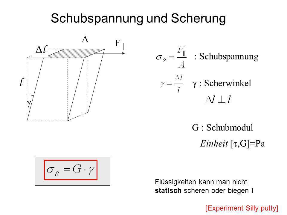 F || A : Schubspannung G : Schubmodul Einheit [,G]=Pa Schubspannung und Scherung : Scherwinkel l l Flüssigkeiten kann man nicht statisch scheren oder