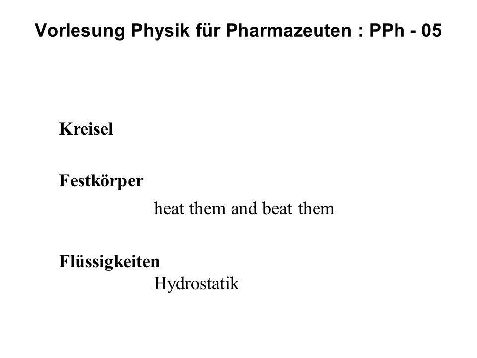 Kreisel Festkörper heat them and beat them Flüssigkeiten Hydrostatik Vorlesung Physik für Pharmazeuten : PPh - 05