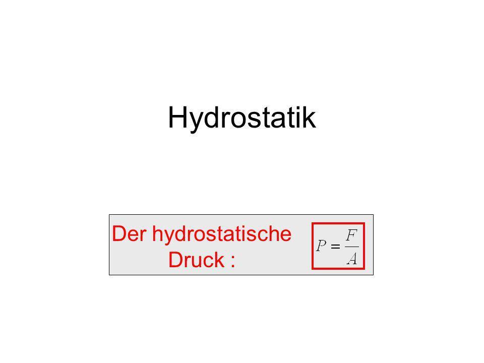 Hydrostatik Der hydrostatische Druck :