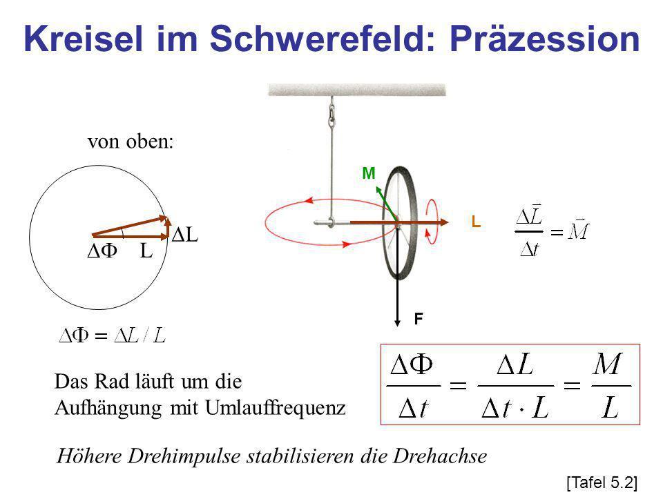 von oben: L L Das Rad läuft um die Aufhängung mit Umlauffrequenz Höhere Drehimpulse stabilisieren die Drehachse Kreisel im Schwerefeld: Präzession F L