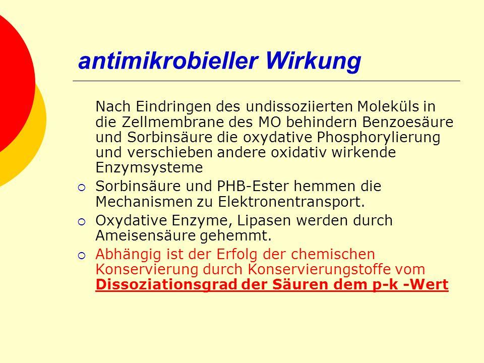 antimikrobieller Wirkung Nach Eindringen des undissoziierten Moleküls in die Zellmembrane des MO behindern Benzoesäure und Sorbinsäure die oxydative P