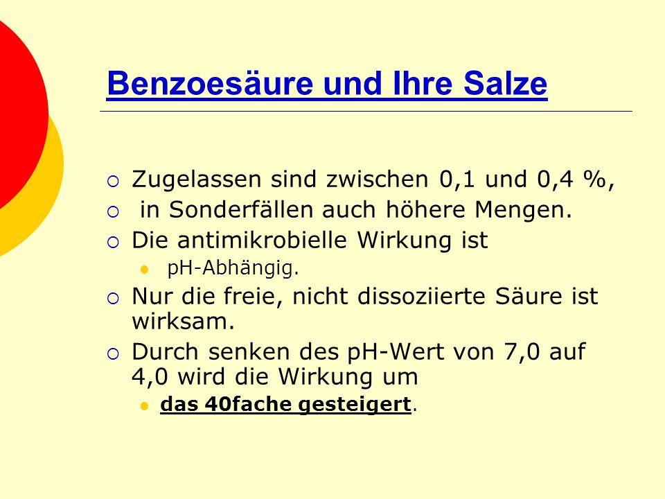 Benzoesäure und Ihre Salze Zugelassen sind zwischen 0,1 und 0,4 %, in Sonderfällen auch höhere Mengen. Die antimikrobielle Wirkung ist pH-Abhängig. Nu