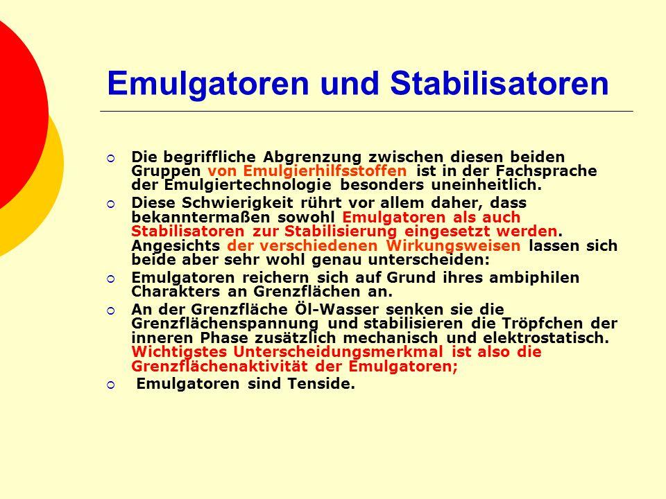 Emulgatoren und Stabilisatoren Die begriffliche Abgrenzung zwischen diesen beiden Gruppen von Emulgierhilfsstoffen ist in der Fachsprache der Emulgier