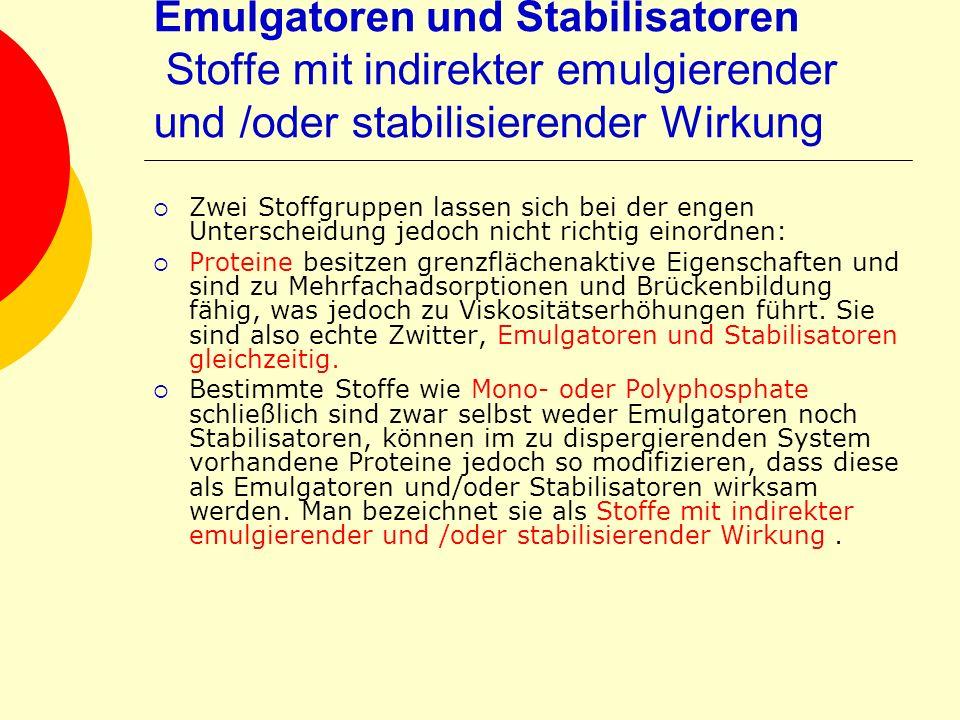 Emulgatoren und Stabilisatoren Stoffe mit indirekter emulgierender und /oder stabilisierender Wirkung Zwei Stoffgruppen lassen sich bei der engen Unte