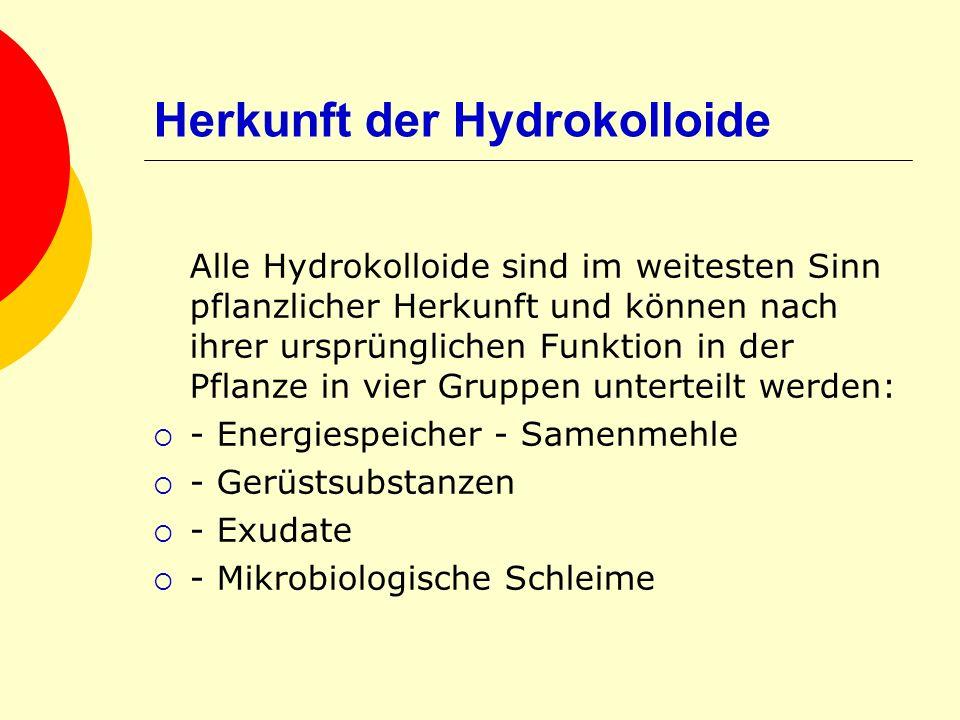Herkunft der Hydrokolloide Alle Hydrokolloide sind im weitesten Sinn pflanzlicher Herkunft und können nach ihrer ursprünglichen Funktion in der Pflanz