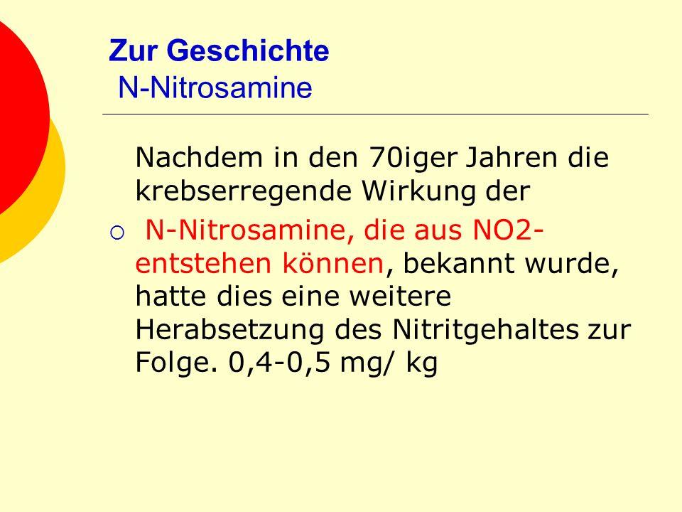 Zur Geschichte N-Nitrosamine Nachdem in den 70iger Jahren die krebserregende Wirkung der N-Nitrosamine, die aus NO2- entstehen können, bekannt wurde,