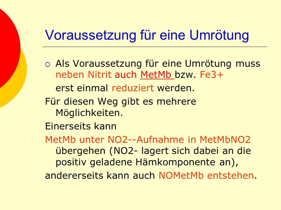 Voraussetzung für eine Umrötung Als Voraussetzung für eine Umrötung muss neben Nitrit auch MetMb bzw. Fe3+MetMb erst einmal reduziert werden. Für dies