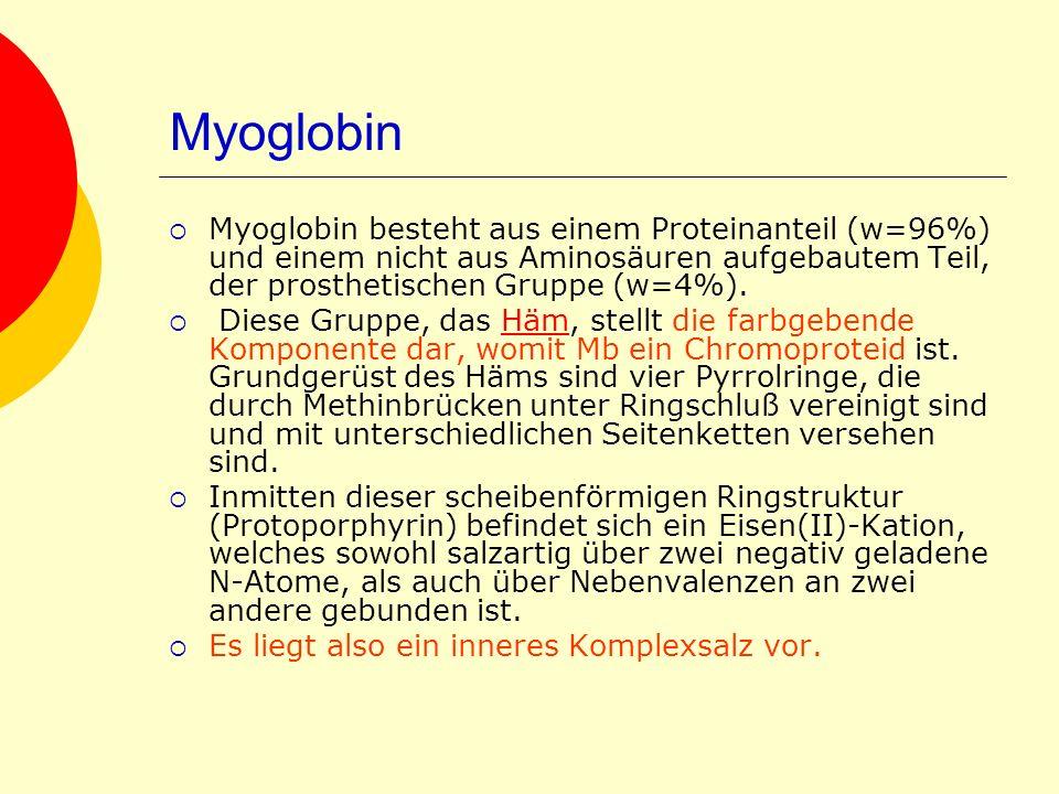 Myoglobin Myoglobin besteht aus einem Proteinanteil (w=96%) und einem nicht aus Aminosäuren aufgebautem Teil, der prosthetischen Gruppe (w=4%). Diese