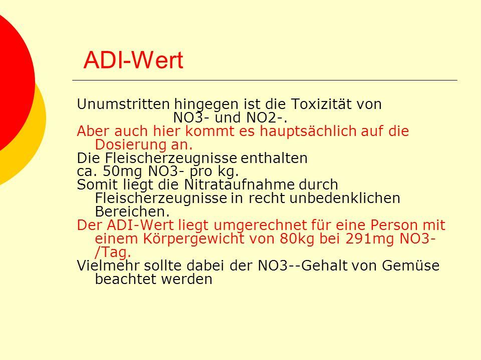 ADI-Wert Unumstritten hingegen ist die Toxizität von NO3- und NO2-. Aber auch hier kommt es hauptsächlich auf die Dosierung an. Die Fleischerzeugnisse