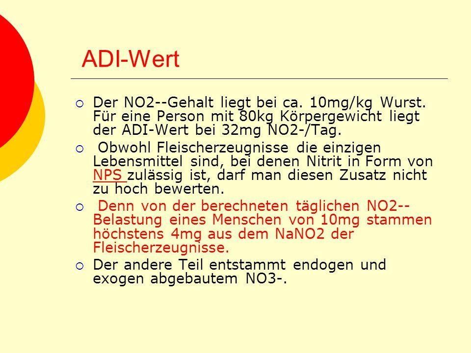 ADI-Wert Der NO2--Gehalt liegt bei ca. 10mg/kg Wurst. Für eine Person mit 80kg Körpergewicht liegt der ADI-Wert bei 32mg NO2-/Tag. Obwohl Fleischerzeu