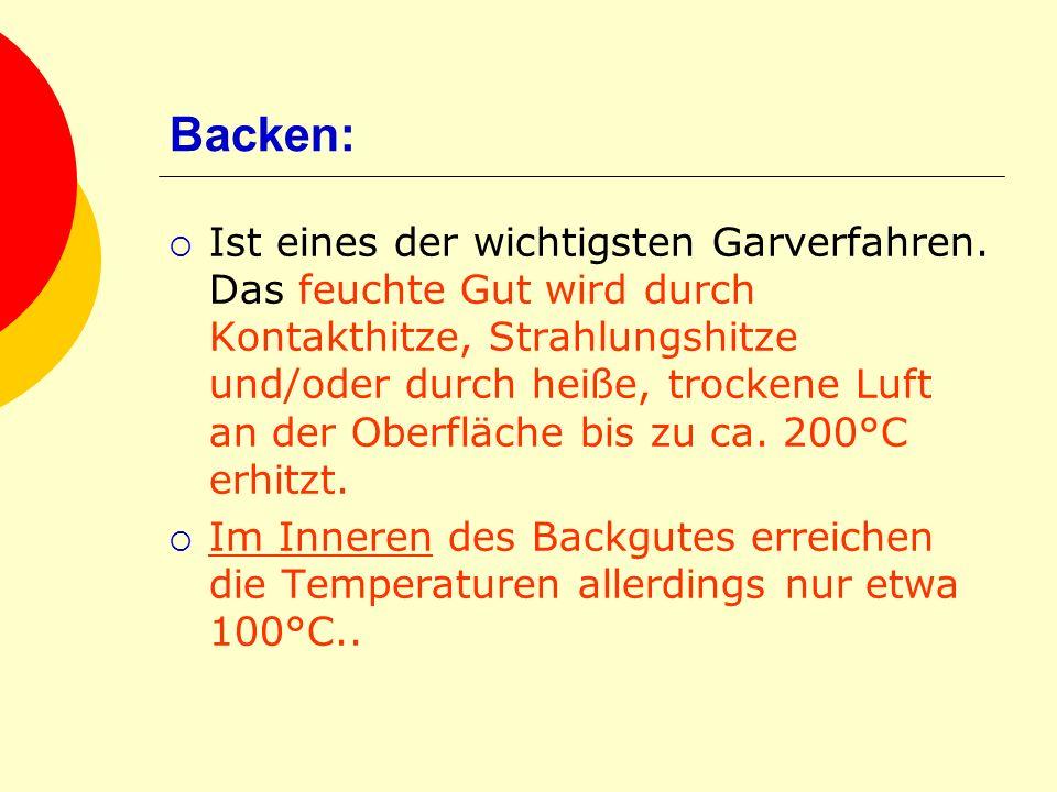 Backen: Ist eines der wichtigsten Garverfahren. Das feuchte Gut wird durch Kontakthitze, Strahlungshitze und/oder durch heiße, trockene Luft an der Ob
