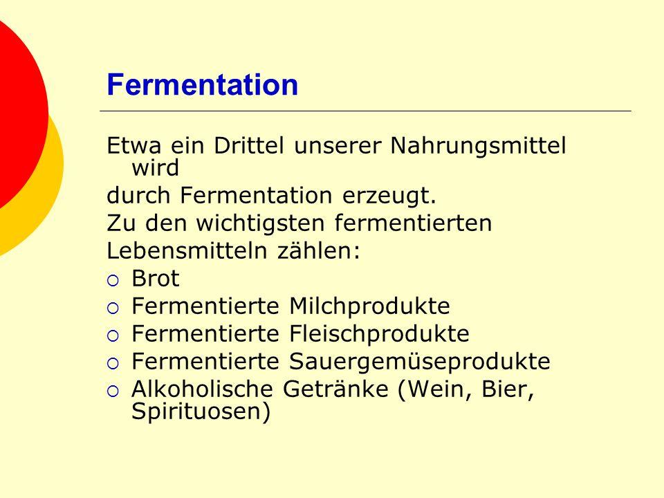 Fermentation Etwa ein Drittel unserer Nahrungsmittel wird durch Fermentation erzeugt. Zu den wichtigsten fermentierten Lebensmitteln zählen: Brot Ferm