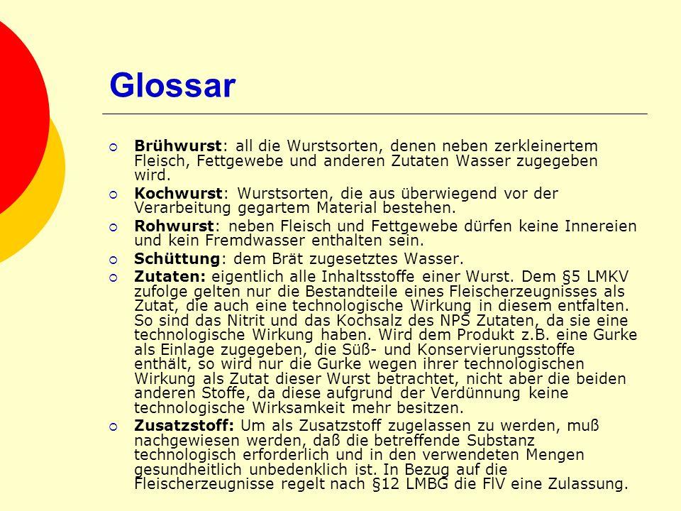 Glossar Brühwurst: all die Wurstsorten, denen neben zerkleinertem Fleisch, Fettgewebe und anderen Zutaten Wasser zugegeben wird. Kochwurst: Wurstsorte