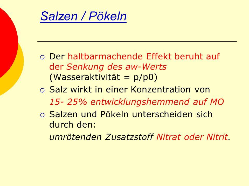 Salzen / Pökeln Der haltbarmachende Effekt beruht auf der Senkung des aw-Werts (Wasseraktivität = p/p0) Salz wirkt in einer Konzentration von 15- 25%