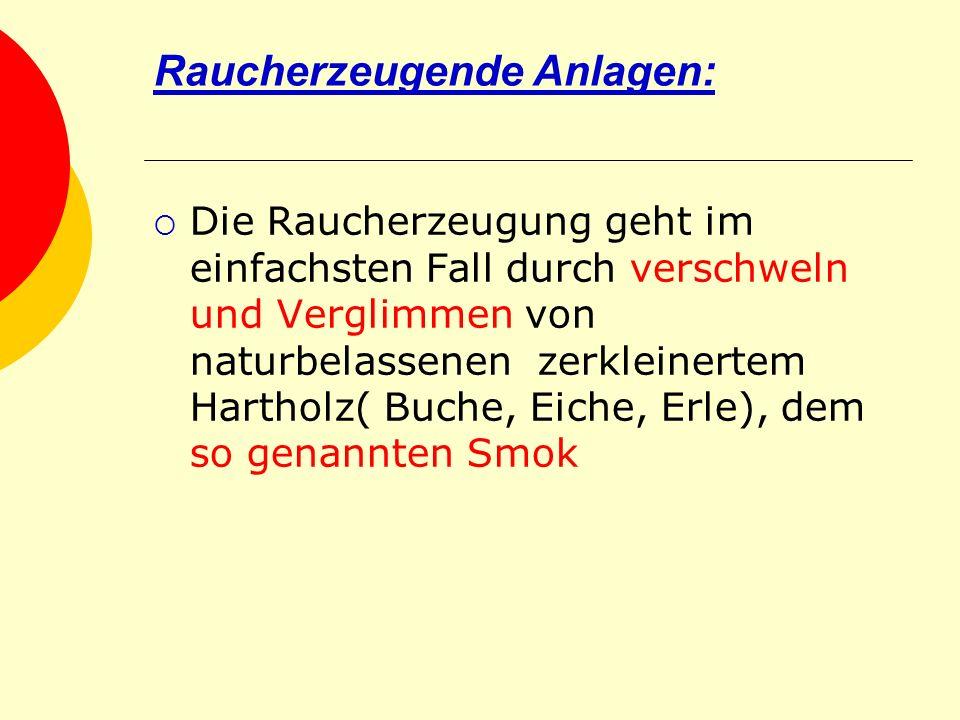Raucherzeugende Anlagen: Die Raucherzeugung geht im einfachsten Fall durch verschweln und Verglimmen von naturbelassenen zerkleinertem Hartholz( Buche