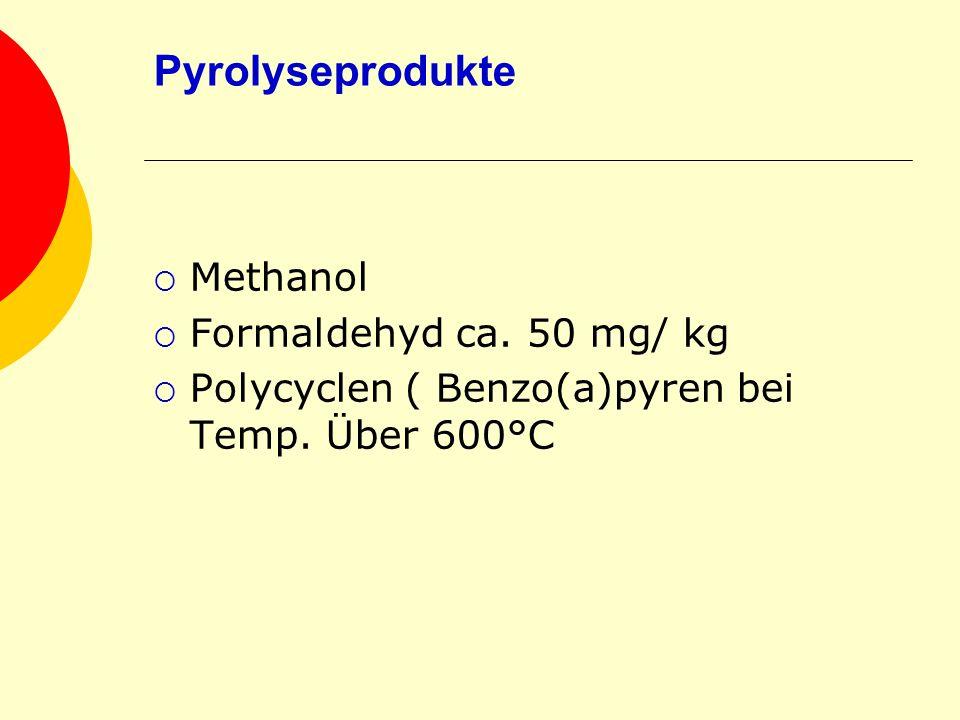 Pyrolyseprodukte Methanol Formaldehyd ca. 50 mg/ kg Polycyclen ( Benzo(a)pyren bei Temp. Über 600°C