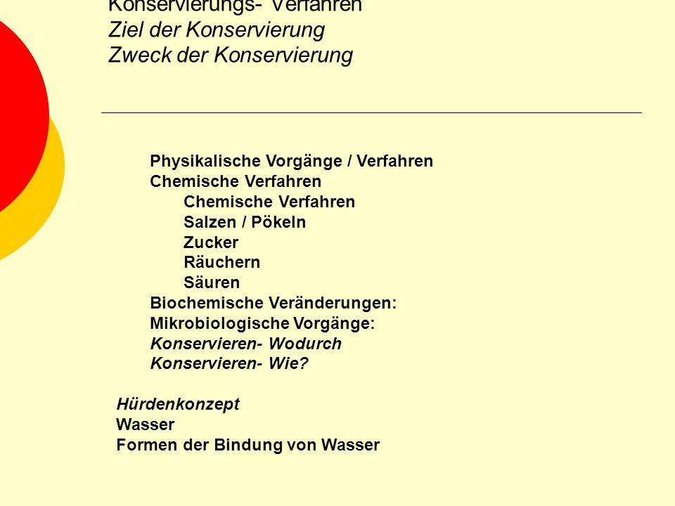 Konservierungs- Verfahren Ziel der Konservierung Zweck der Konservierung Physikalische Vorgänge / Verfahren Chemische Verfahren Salzen / Pökeln Zucker
