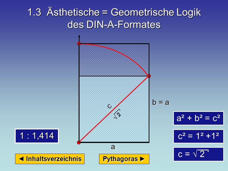 1.2 Die Größen-Systematik der DIN-A-Formate Inhaltsverzeichnis Inhaltsverzeichnis DIN-A 1 DIN-A 2 DIN-A 3 DIN-A 4 DIN-A 5 u.s.w.