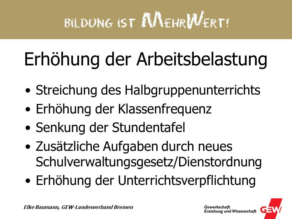 Elke Baumann, GEW-Landesverband Bremen Erhöhung der Arbeitsbelastung Streichung des Halbgruppenunterrichts Erhöhung der Klassenfrequenz Senkung der St