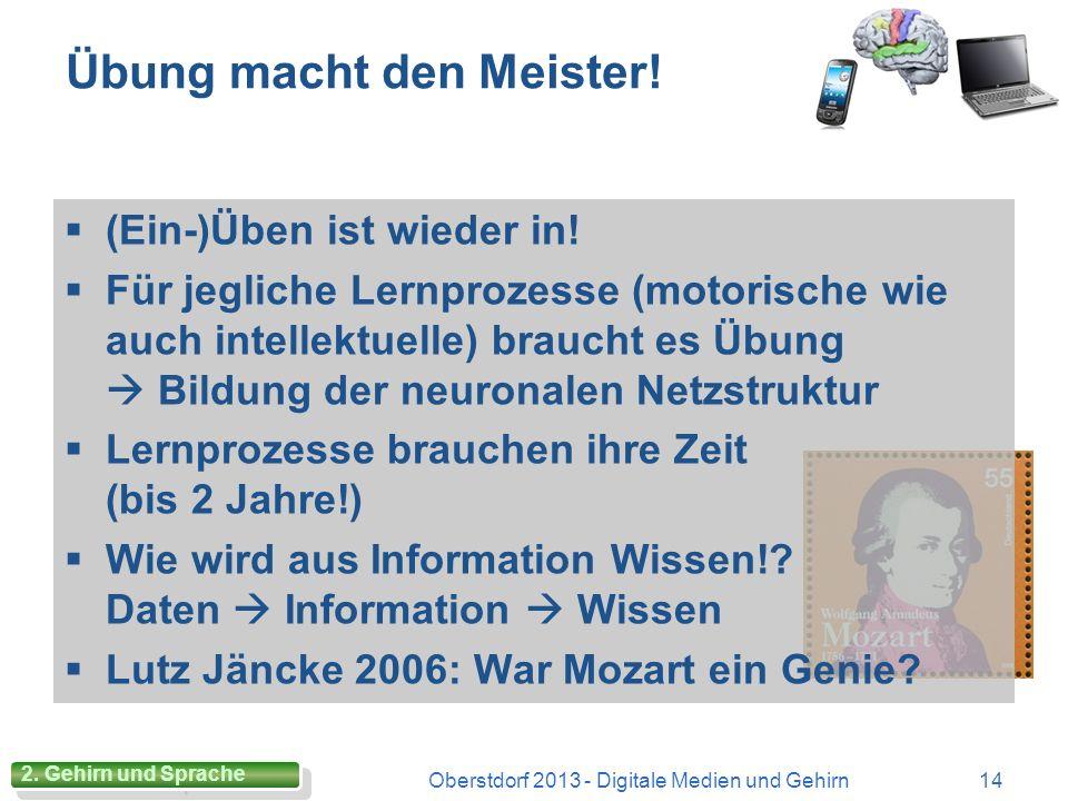 Multisensorisches Lernen Oberstdorf 2013 - Digitale Medien und Gehirn13 Alte pädagogische Weisheit Alte pädagogische Weisheit verschiedene (Lern-)Akti