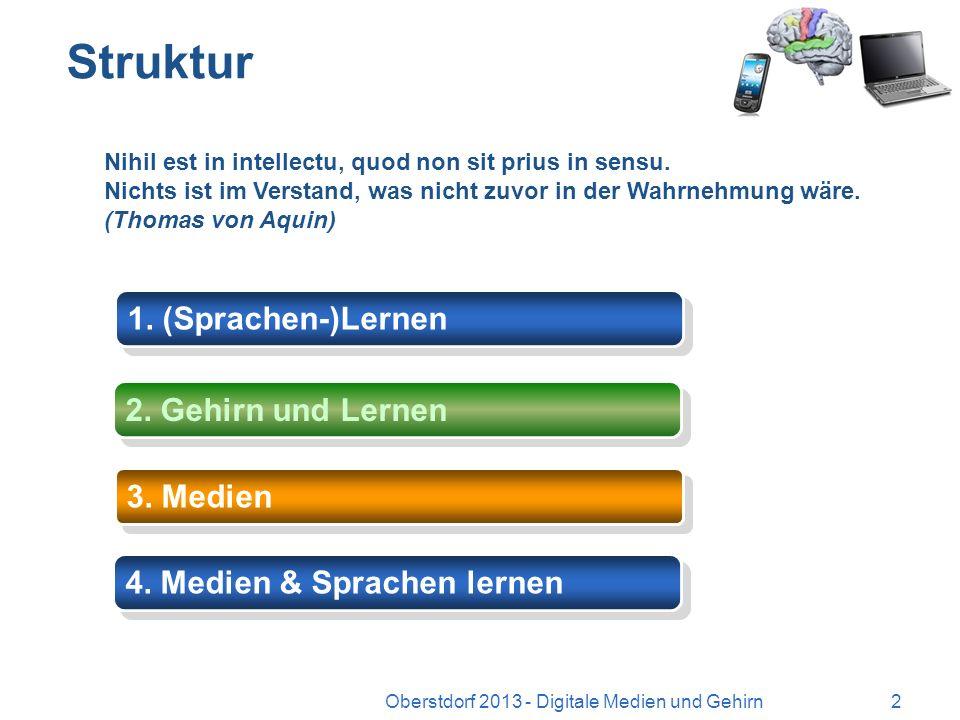 Wie viel Medien (v)erträgt das Gehirn? Digitale Medien und (Sprachen-)Lernen 1 Oberstdorf 2013 - Digitale Medien und Gehirn Dr. Michael Langner Univer