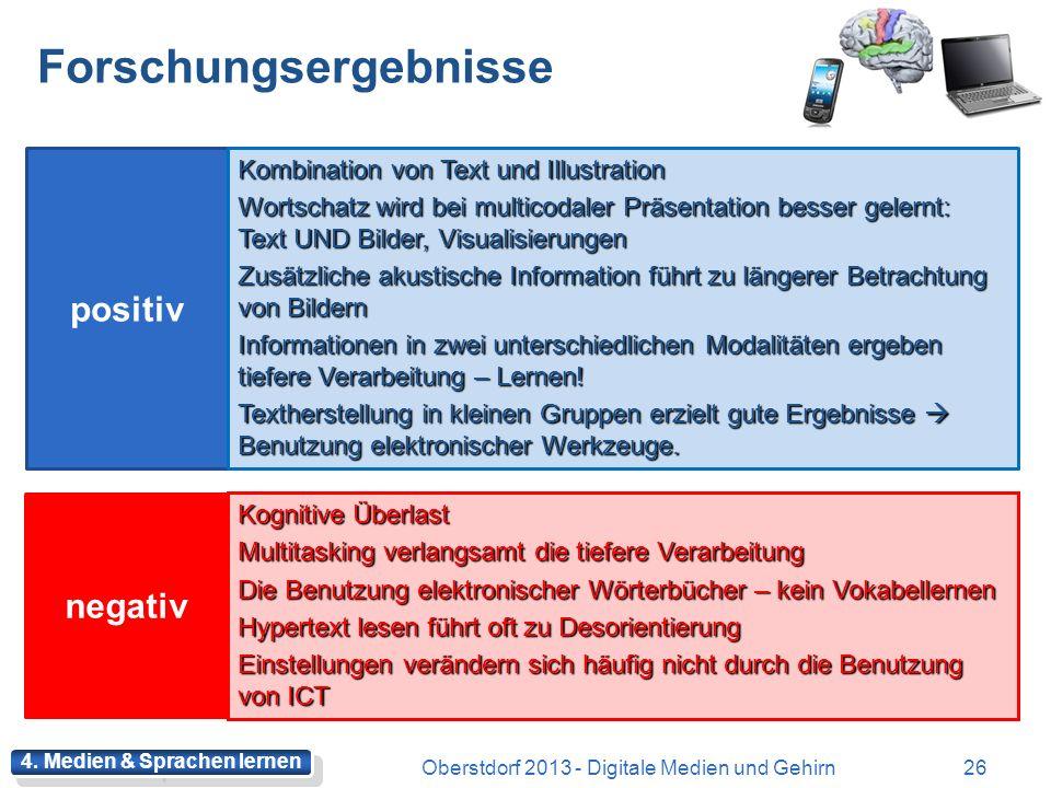 Multimedia Oberstdorf 2013 - Digitale Medien und Gehirn25 Was wissen wir über die Kombination verschiedener Codes, Modalitäten und Medien? Was wissen