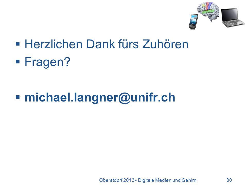 Und die Hattie-Studie? Oberstdorf 2013 - Digitale Medien und Gehirn29 Nur als Provokation: Was richtig hilft Lehrerfeedback problemlösender Unterricht