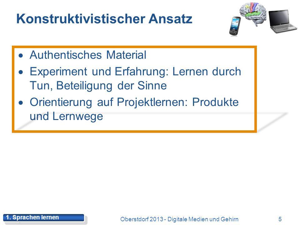 Cognitive Load Theory Oberstdorf 2013 - Digitale Medien und Gehirn15 Lernen mit begrenzten Speicherkapazitäten (Arbeitsgedächtnis) Lernen ist mit kognitiver Belastung verbunden Intrinsische Belastung (-Wortschatz vs.