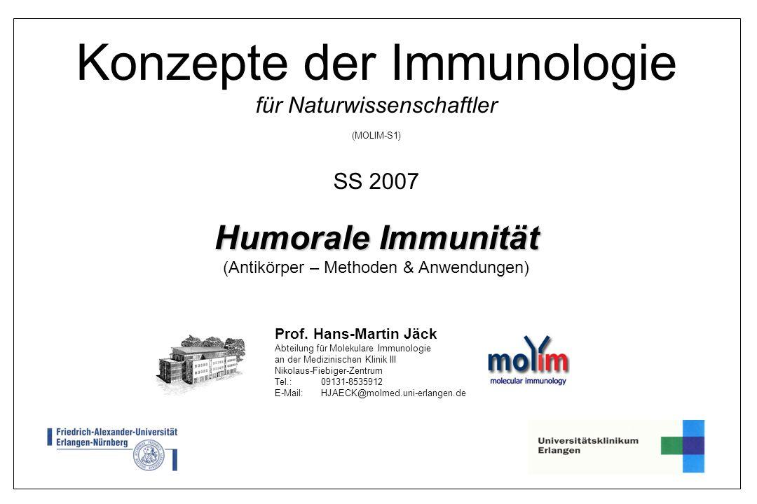 1 Konzepte der Immunologie für Naturwissenschaftler (MOLIM-S1) SS 2007 Humorale Immunität Humorale Immunität (Antikörper – Methoden & Anwendungen) Pro