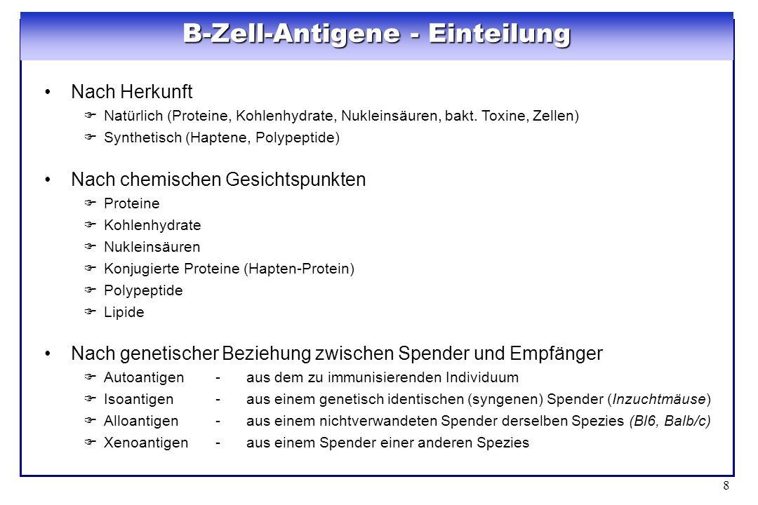 8 B-Zell-Antigene - Einteilung Nach Herkunft Natürlich (Proteine, Kohlenhydrate, Nukleinsäuren, bakt. Toxine, Zellen) Synthetisch (Haptene, Polypeptid