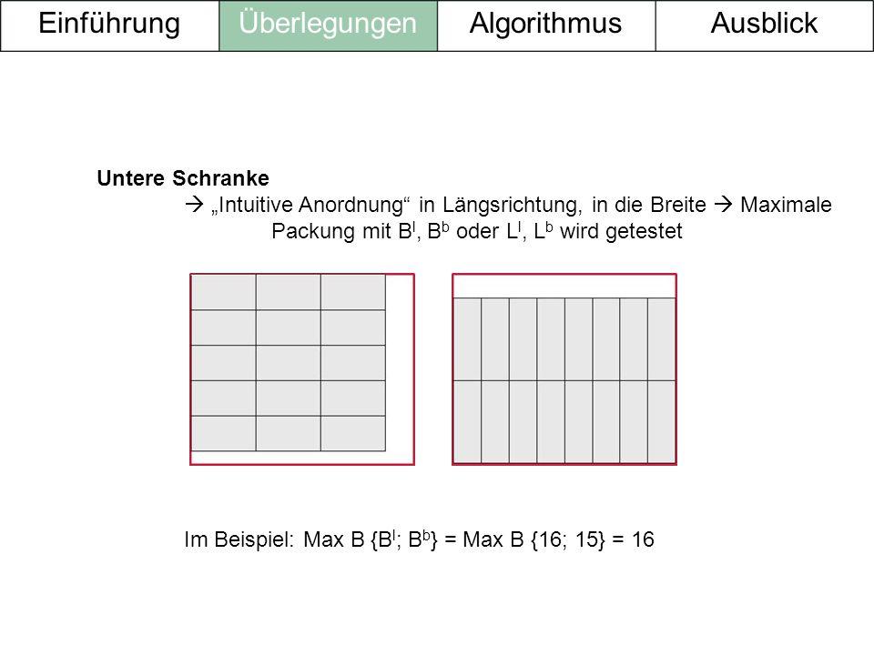 Untere Schranke Intuitive Anordnung in Längsrichtung, in die Breite Maximale Packung mit B l, B b oder L l, L b wird getestet Im Beispiel: Max B {B l
