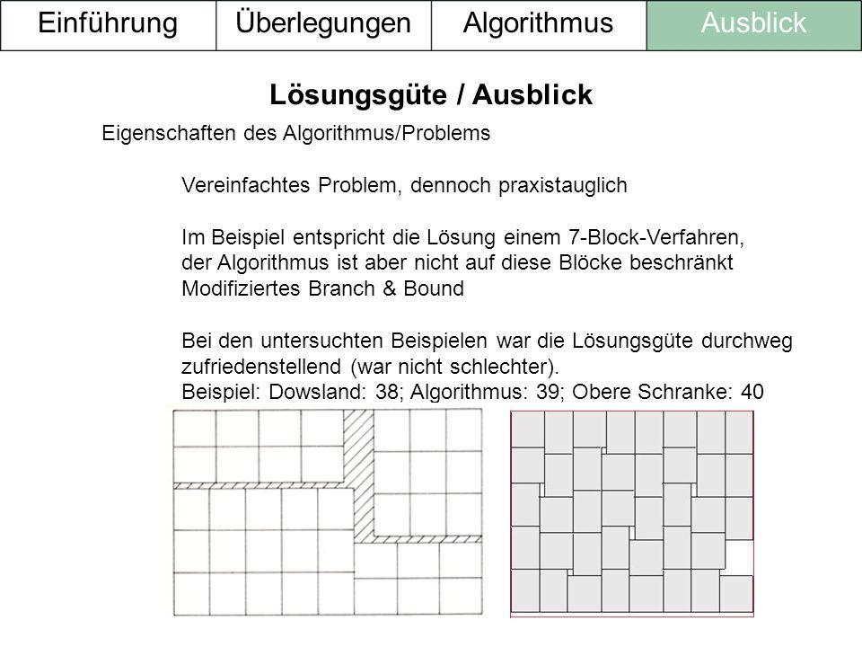 Eigenschaften des Algorithmus/Problems Vereinfachtes Problem, dennoch praxistauglich Im Beispiel entspricht die Lösung einem 7-Block-Verfahren, der Al