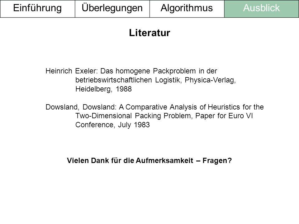 Heinrich Exeler: Das homogene Packproblem in der betriebswirtschaftlichen Logistik, Physica-Verlag, Heidelberg, 1988 Dowsland, Dowsland: A Comparative